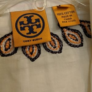 Tory Burch Ivory Blouse with Embroidery